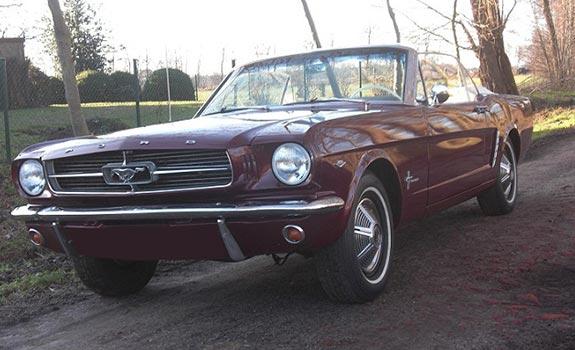 Fahrzeug Ansicht 1, Ford Mustang Cabriolet, Baujahr 1965, bordeaux rot