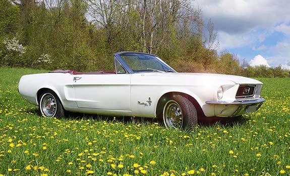 Fahrzeug, Ansicht 1, Ford Mustang Cabriolet, Baujahr 1968, Weiss