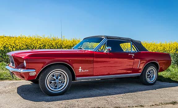 Fahrzeug Ansicht 1, Ford Mustang Cabriolet, Baujahr 1968, rot 1