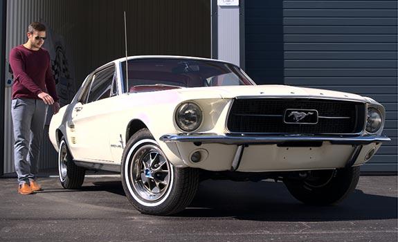 Fahrzeug Ansicht 1, Ford Mustang Coupe, Baujahr 1967, Wimbledon White