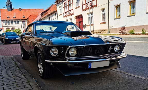 Fahrzeug, Ansicht 2, Ford Mustang Fastback, Baujahr 1969, Schwarz